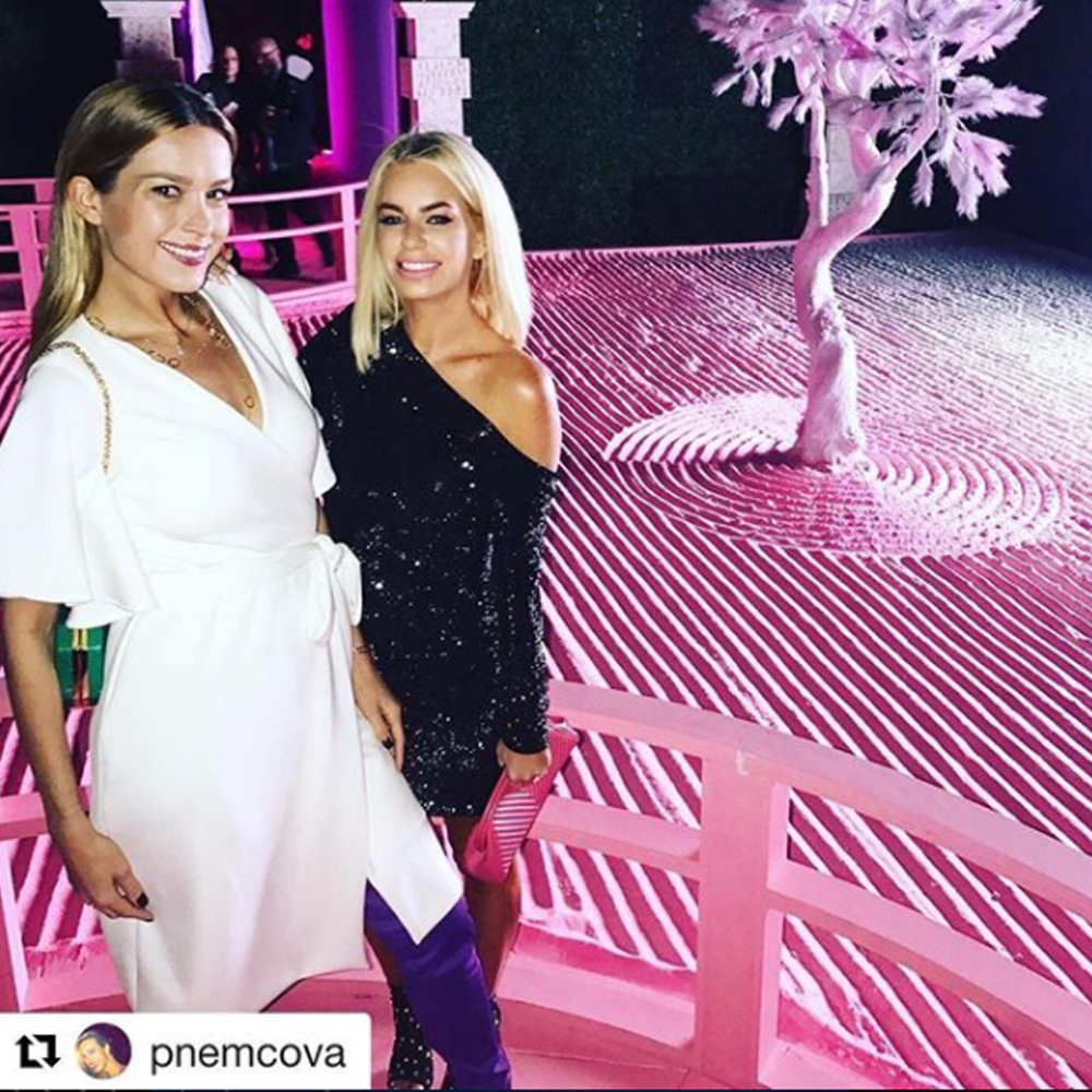 Petra Nemcova attends the pink world showcase in our Laurie Dress