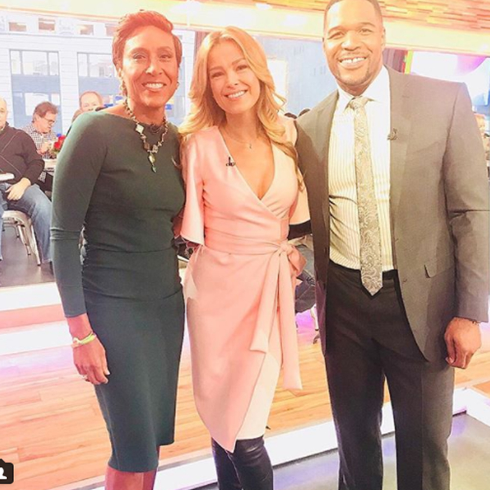 Petra Nemcova wearing our blush lexi dress during her guesting at good morning america
