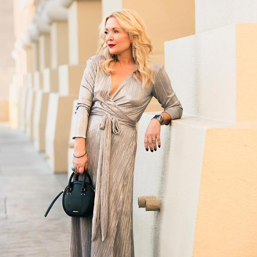 Zia Domic looking glamorous in her PGP mariam wrap dress in silver
